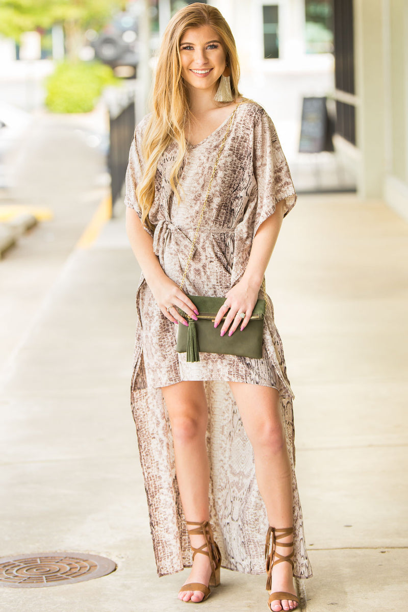 Slither This Way Tunic - Brown/Black