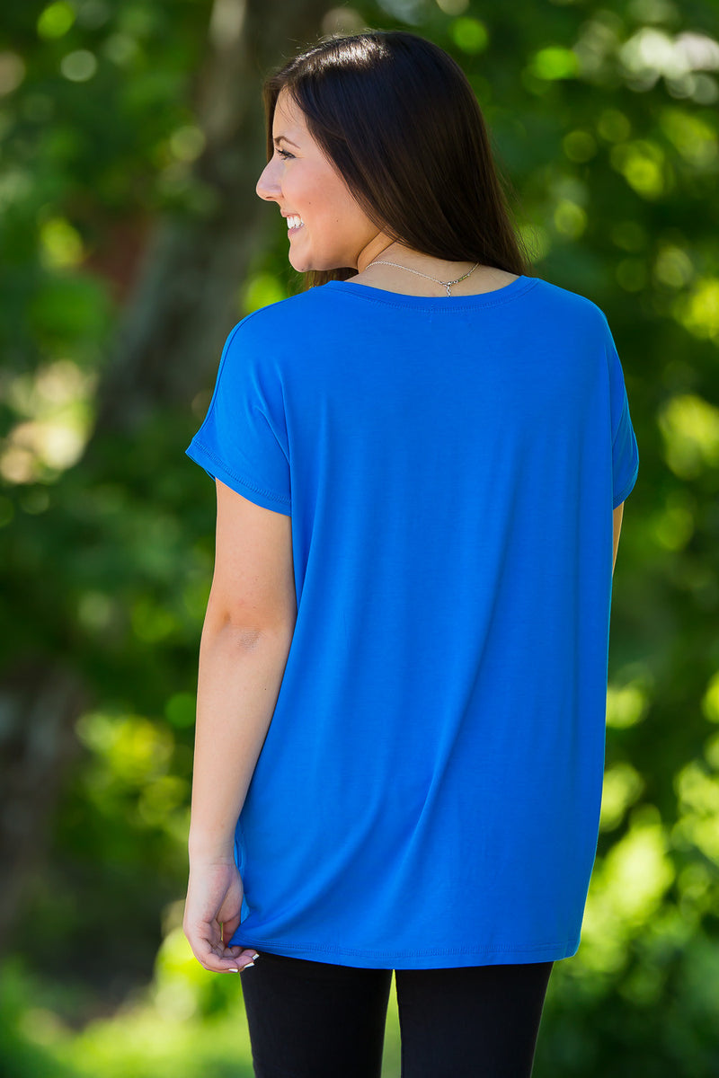 The Perfect Piko Rolled Short Sleeve Top-Snorkel Blue