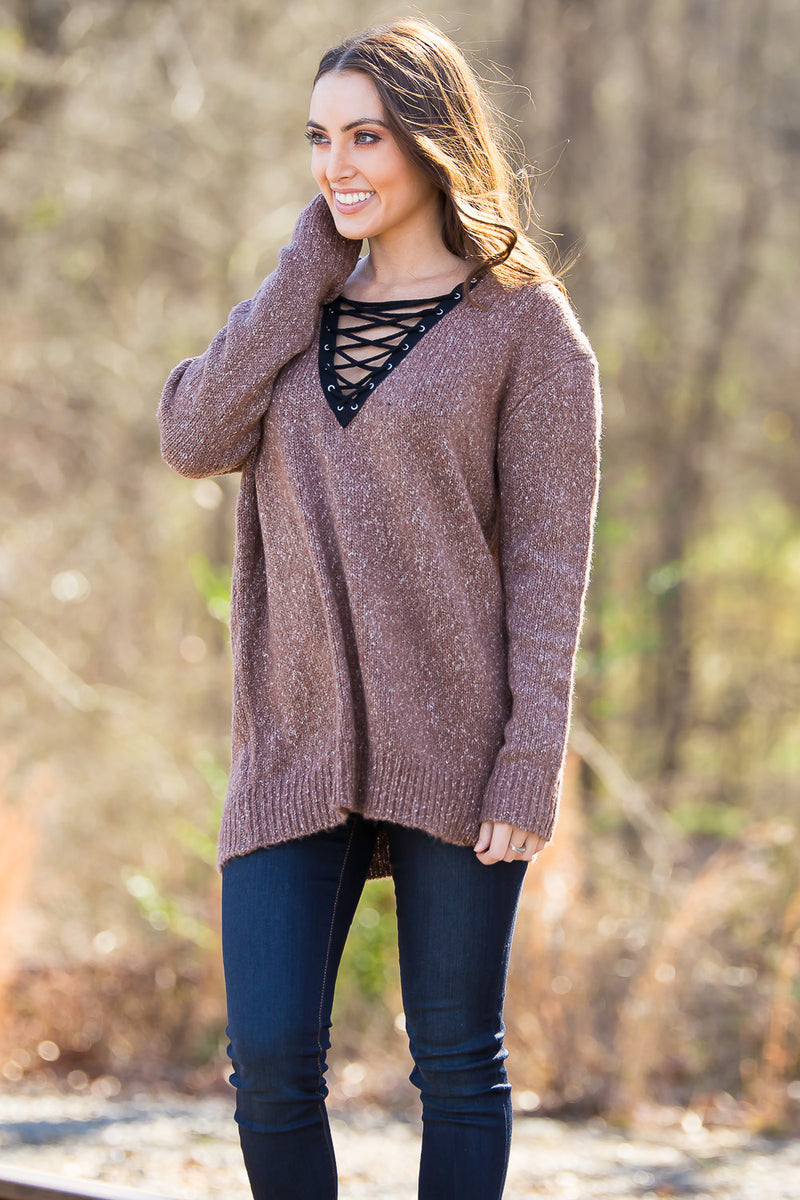 SALE- The Endless V Sweater Top-Brown