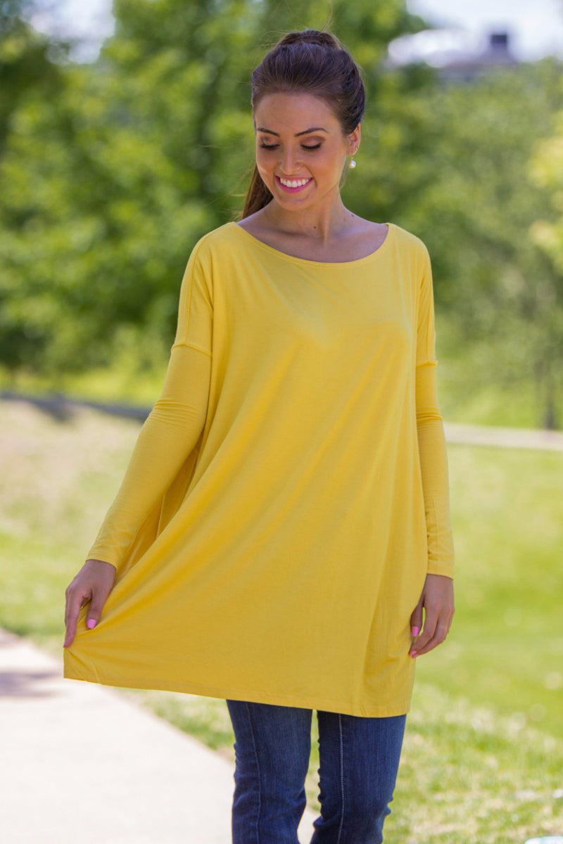 The Perfect Piko Tunic Top-Mustard