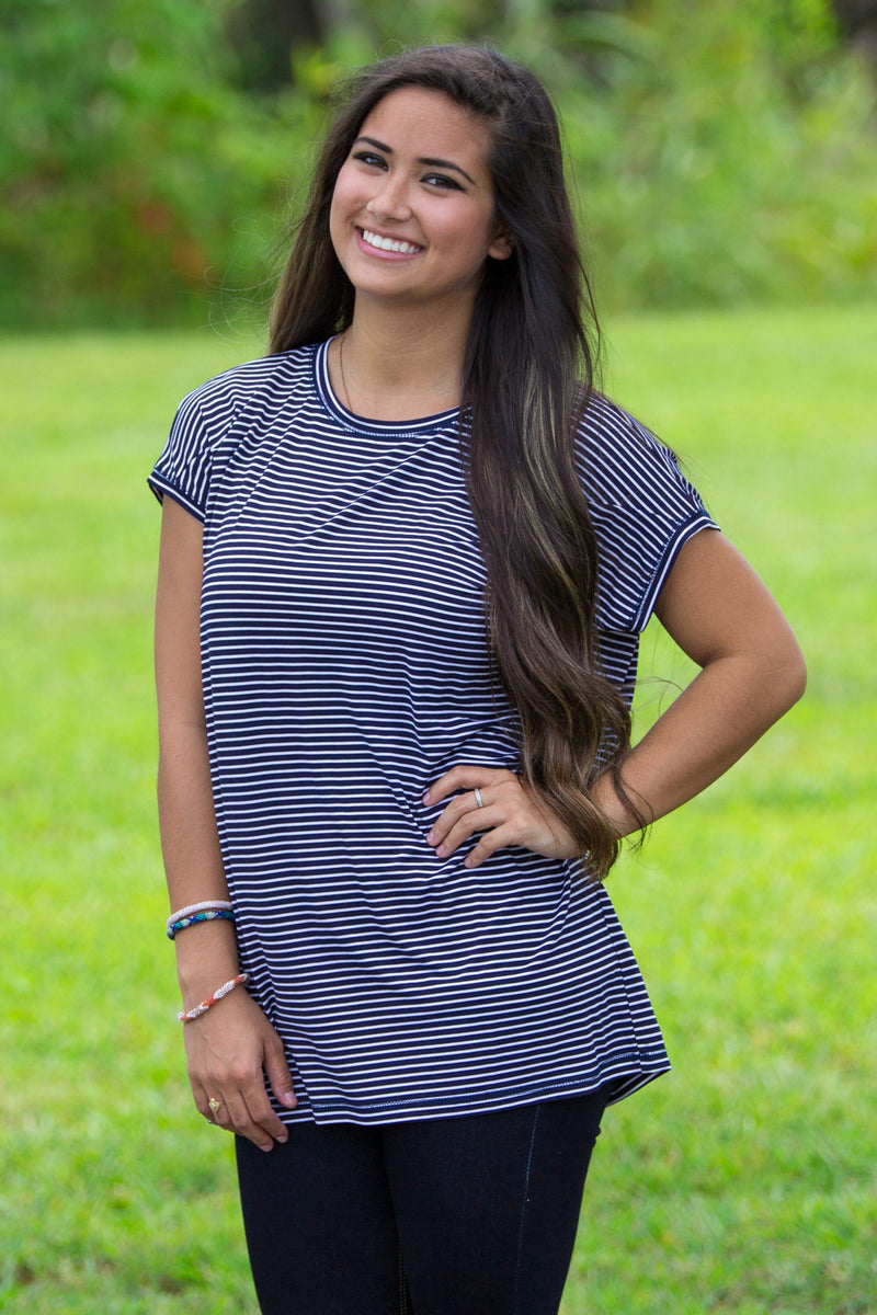 The Perfect Piko Rolled Short Sleeve Tiny Stripe Top-Navy/White