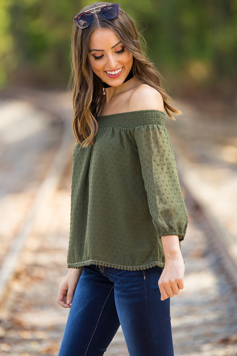 Dot's For You Top-Olive