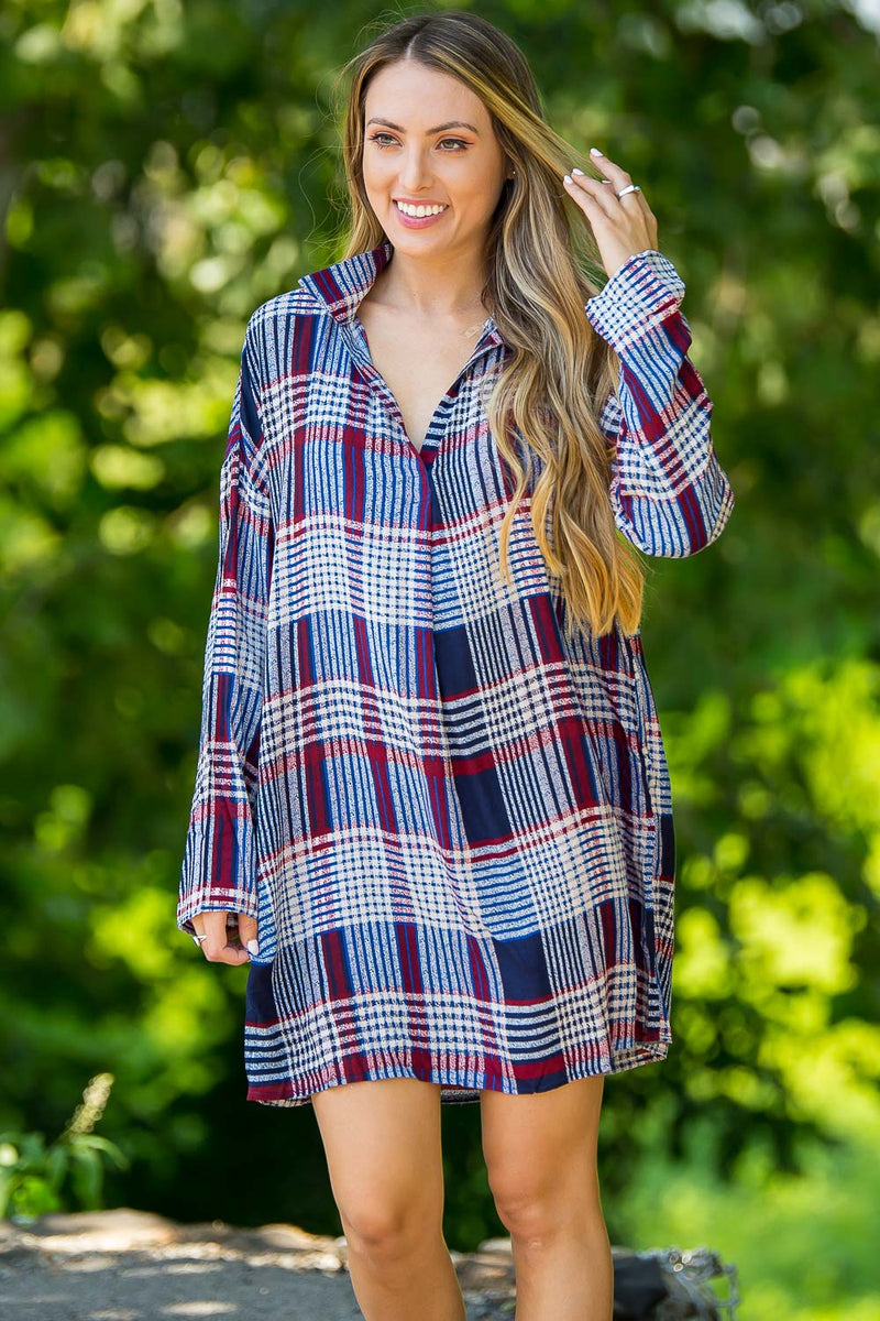 Plaidly You Dress-Navy/Multi