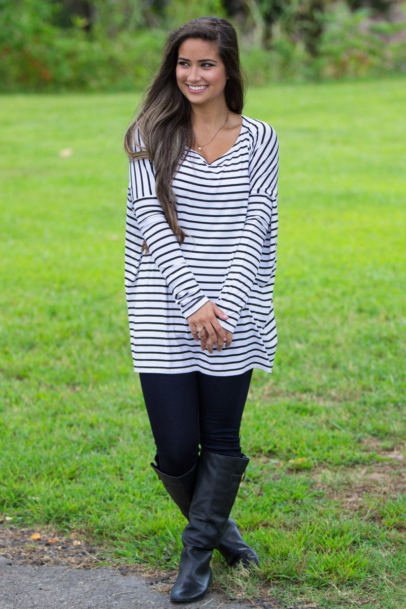 The Perfect Piko Tiny Stripe Top-White/Black