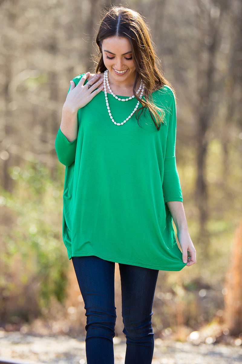 The Perfect Piko 3/4 Sleeve Top-Kelly Green