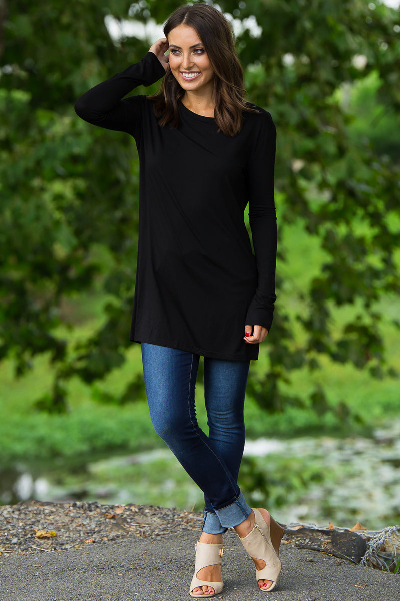 The Perfect Piko Slim Fit Top-Black