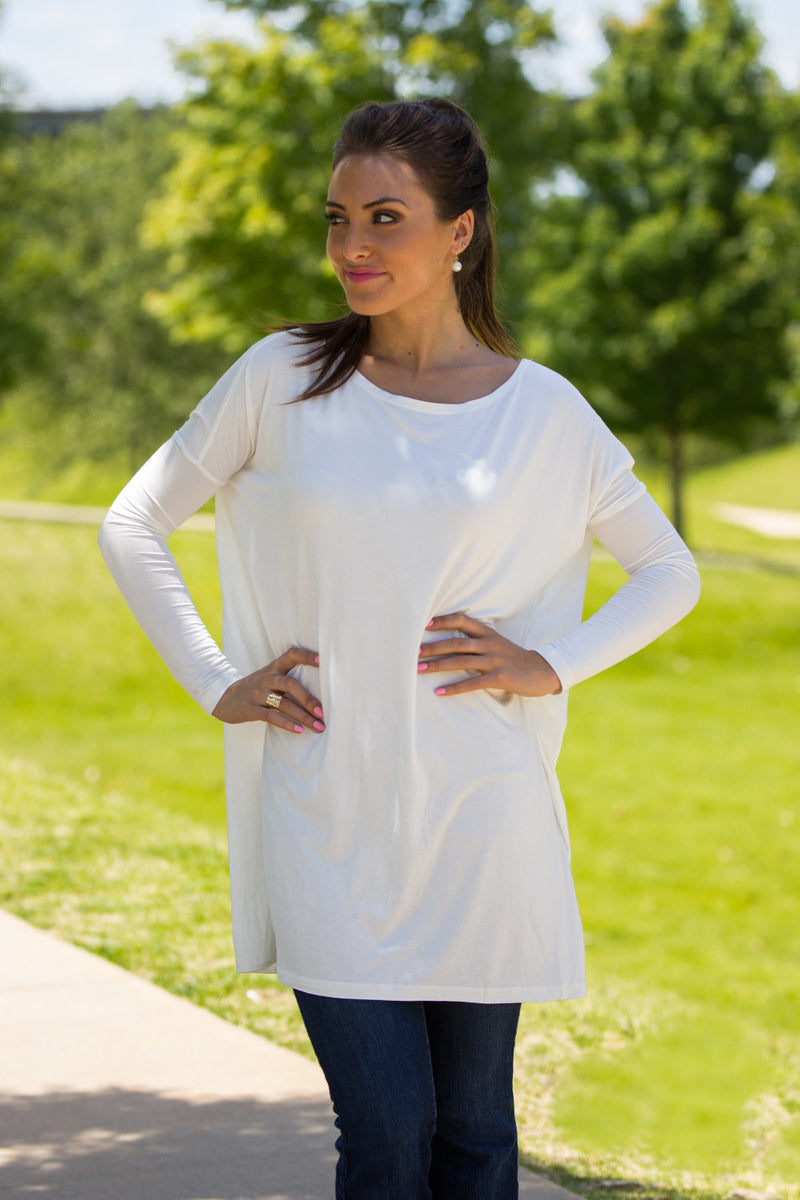 The Perfect Piko Tunic Top-Off White