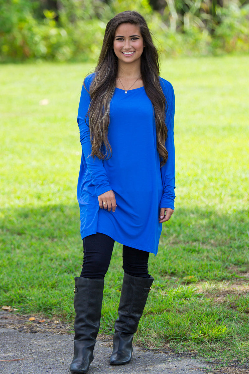 The Perfect Piko Tunic Top-Royal Blue