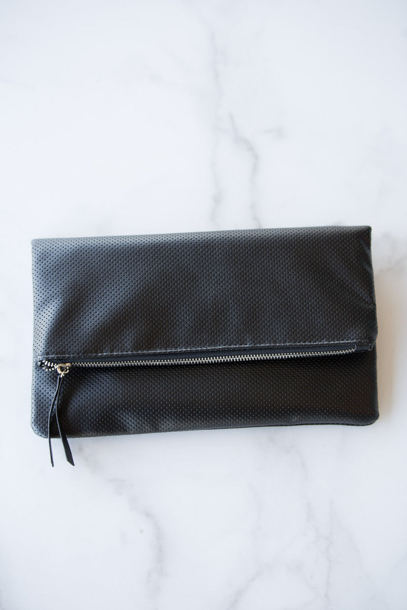 Perforated Foldover Clutch - Black