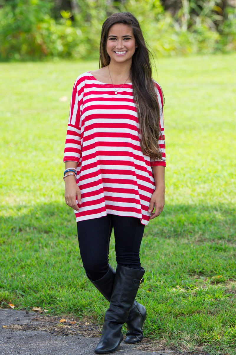 The Perfect Piko 3/4 Top-Red/White