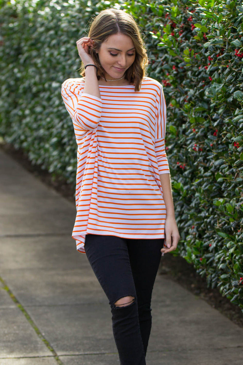 The Perfect Piko 3/4 Sleeve Tiny Stripe Top-Orange/White