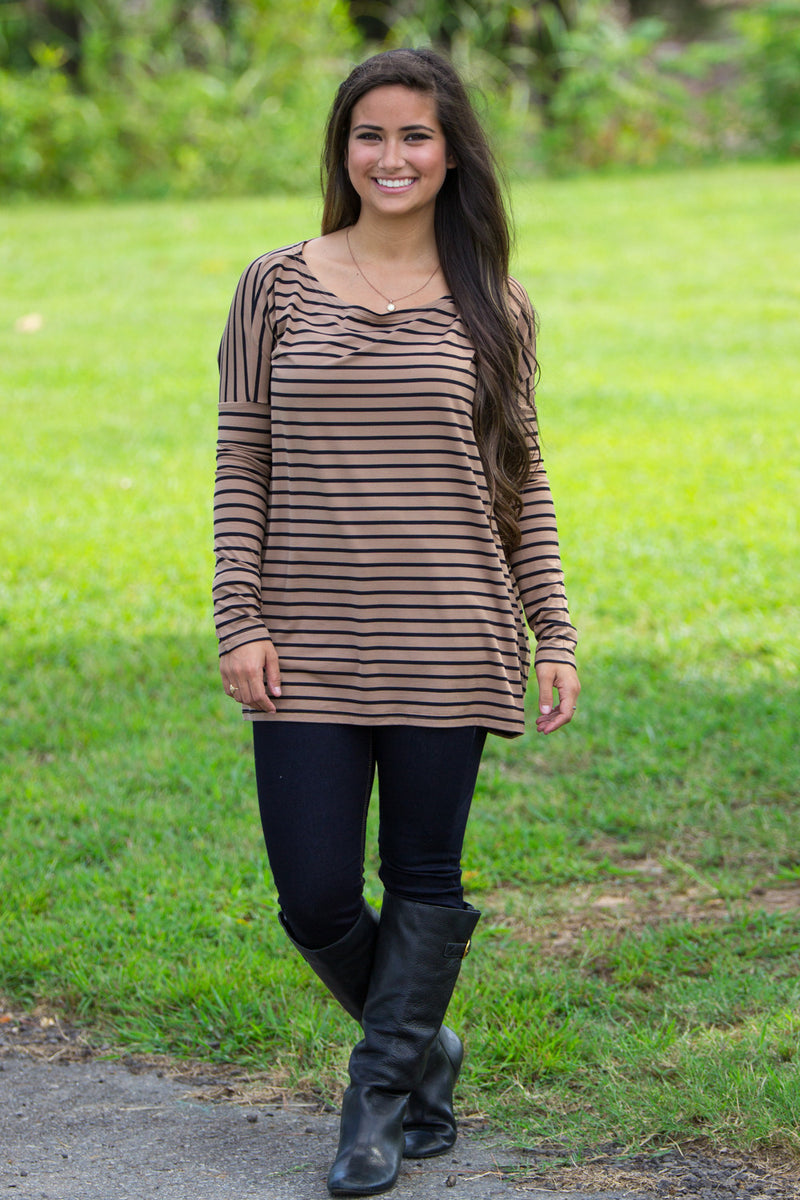 The Perfect Piko Tiny Stripe Top-Camel/Black