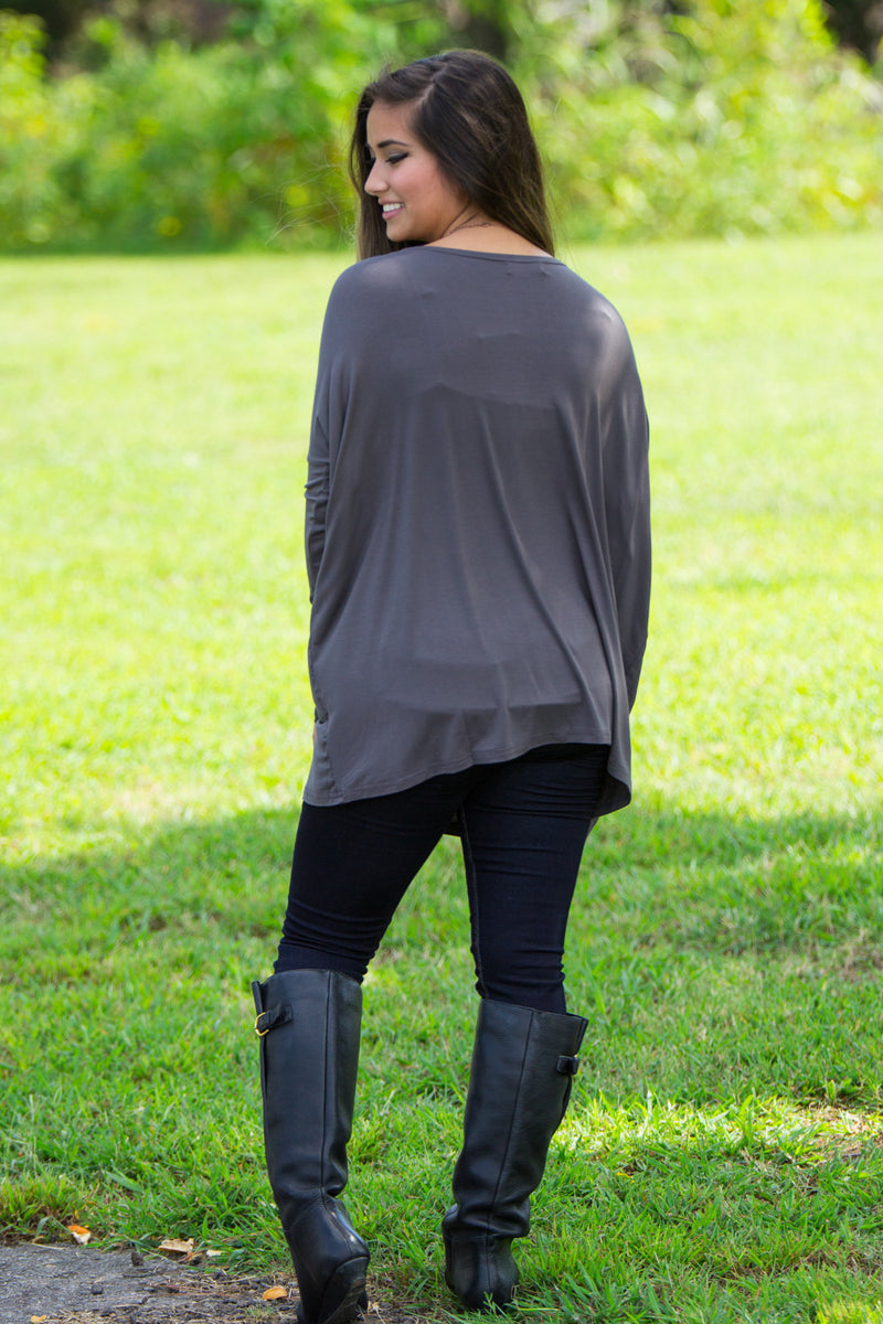 The Perfect Piko Top-Dark Grey