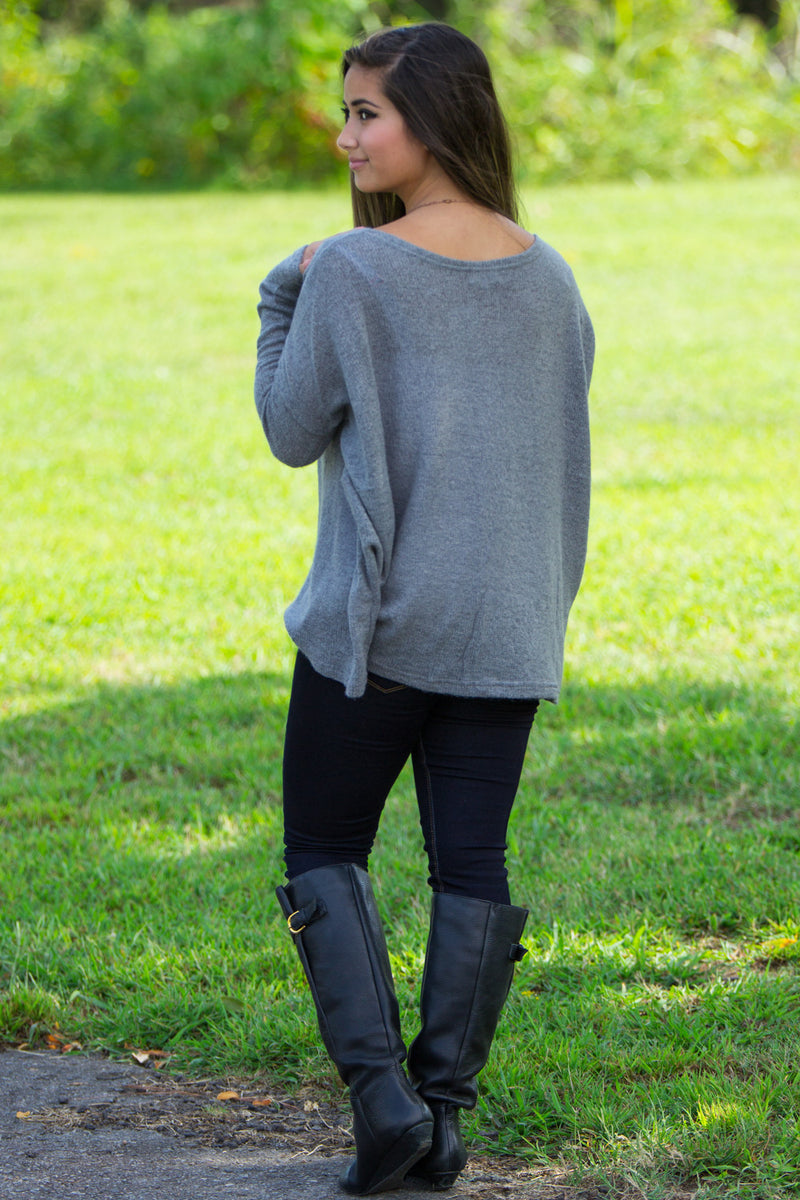 The Perfect Piko Sweater Top-Charcoal