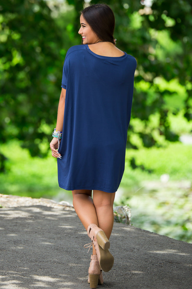 The Perfect Piko Short Sleeve V-Neck Tunic-Navy