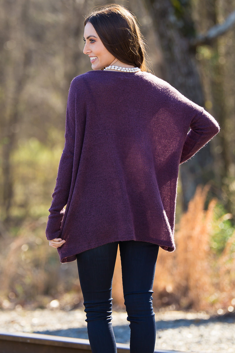 The Perfect Piko V-Neck Sweater Top-Dusty Purple