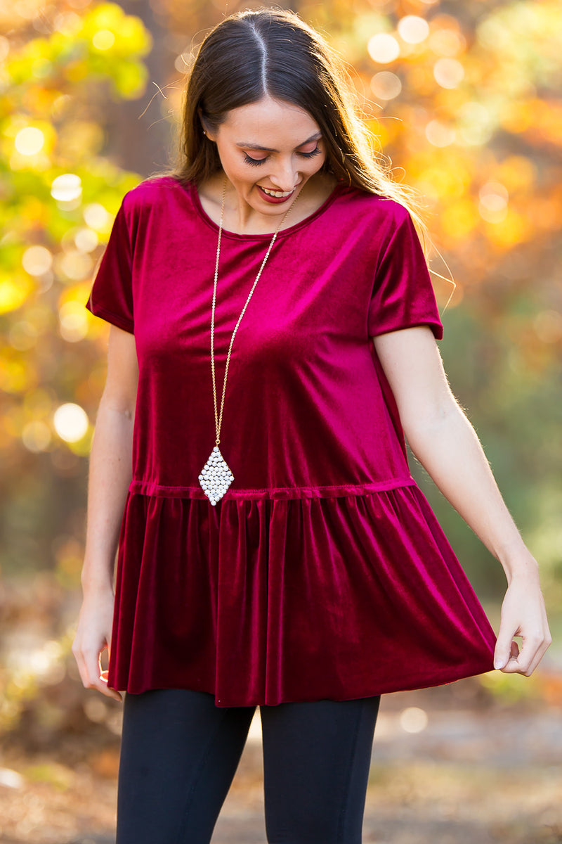 Bring On The Cheer Top-Burgundy