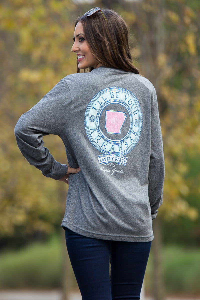 SALE- Lauren James-AR I'll Be Your Long Sleeve Top-Heather Grey