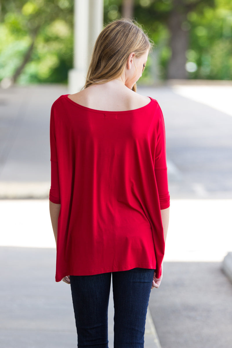 The Perfect Piko 3/4 Sleeve Top-Red