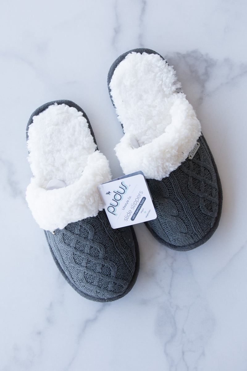 Pudus-Slide Slippers-Cable Knit Grey