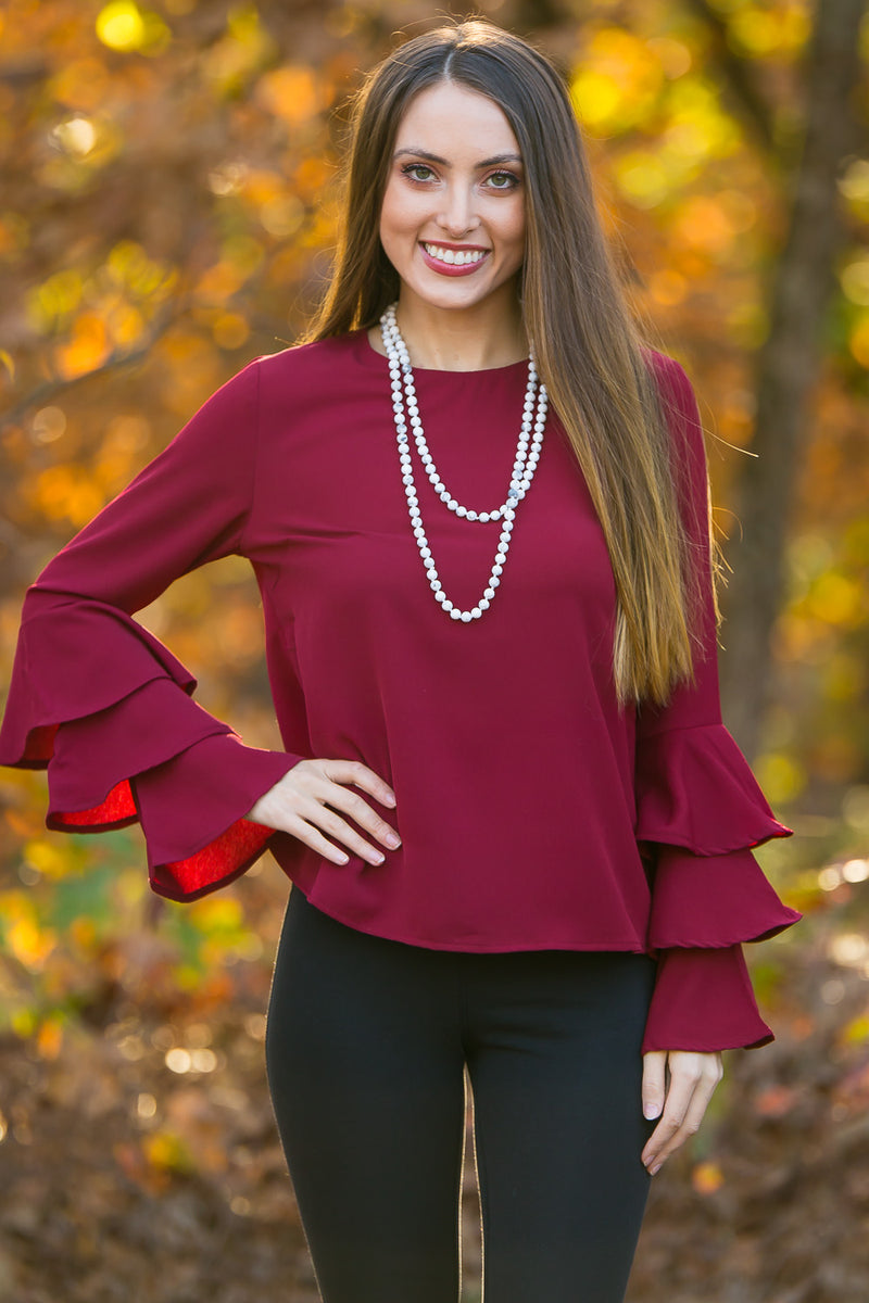 Bells And Ruffles Top-Burgundy