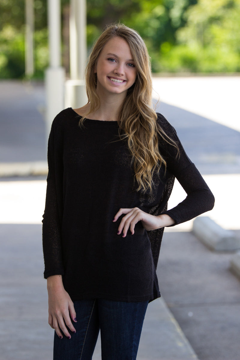 The Perfect Piko Sweater Top-Black