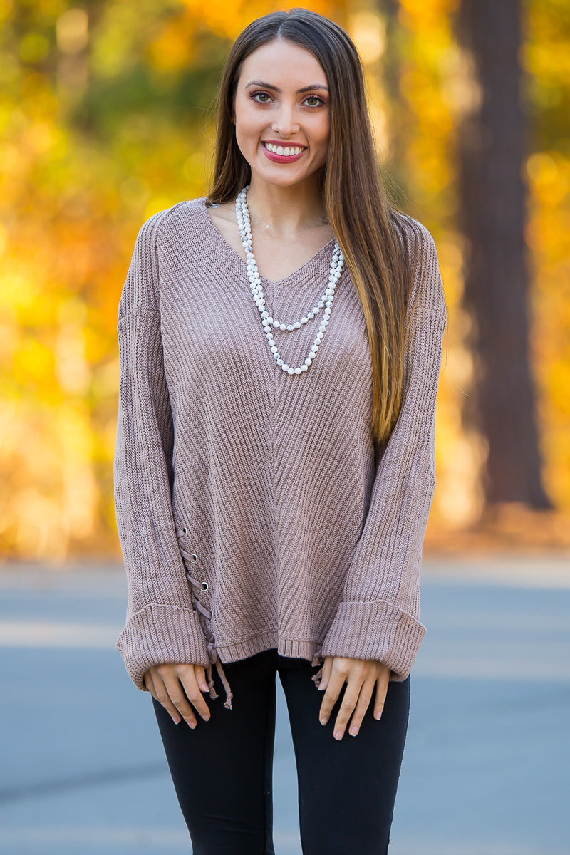 Can You Stay Sweater Top-Mocha