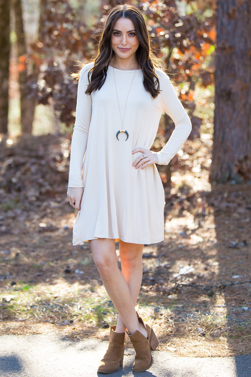 The Perfect Piko Long Sleeve Swing Dress-Beige