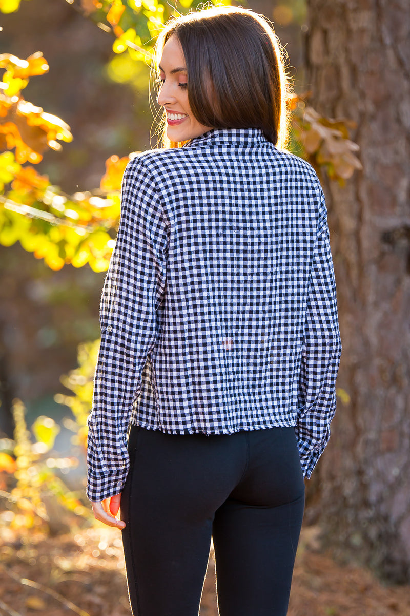 Buddy Love-Gem Pearl Snap Plaid Top-White