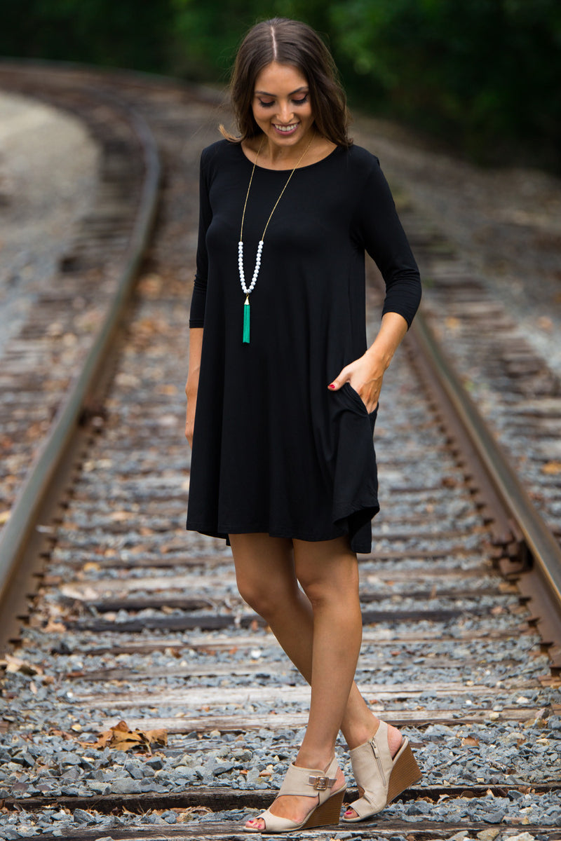 The Perfect Piko 3/4 Sleeve Swing Dress-Black