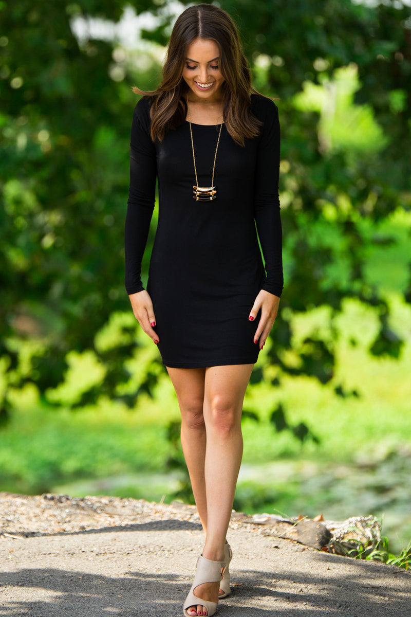 Fitted Piko Dress-Black