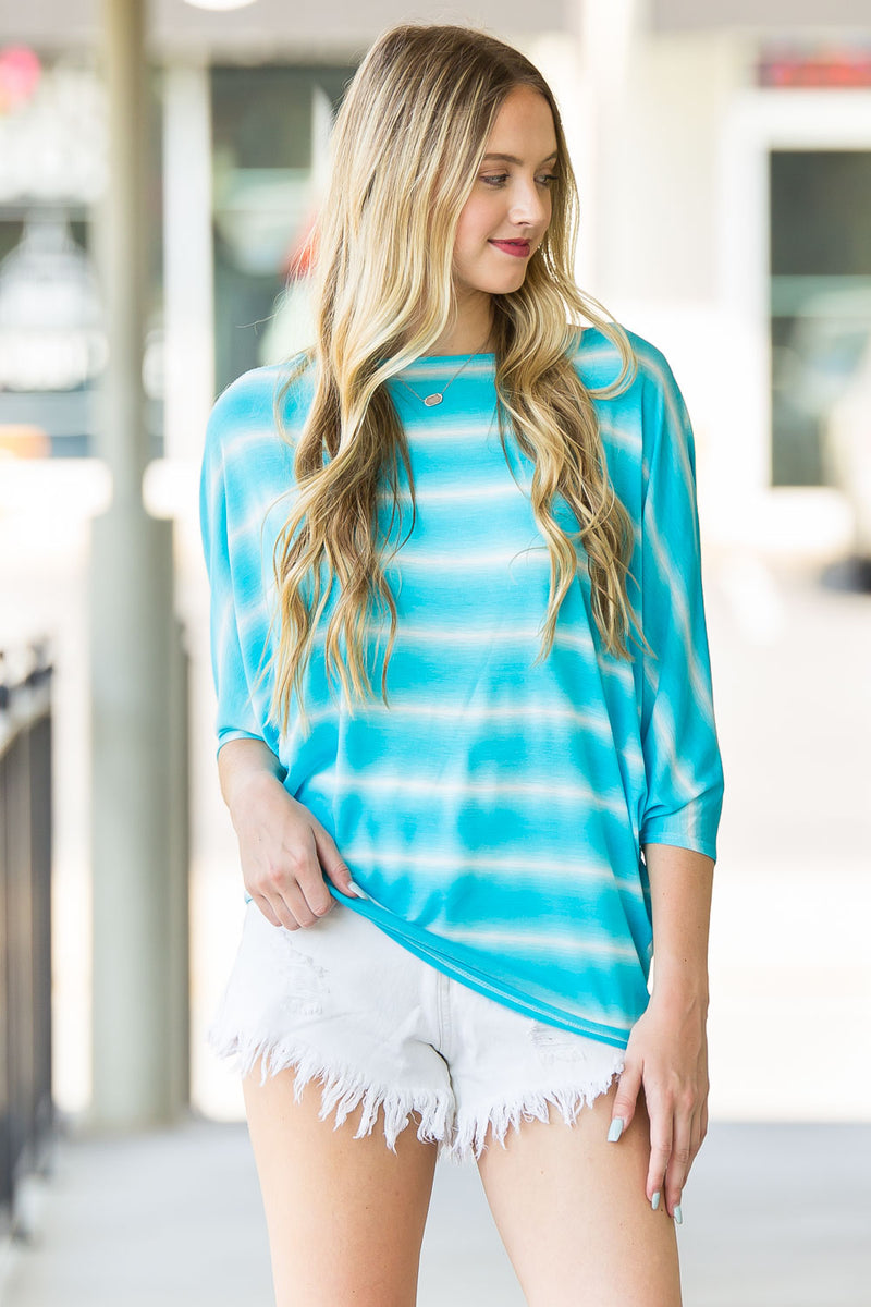 Slouchy Sunday Top - Aqua