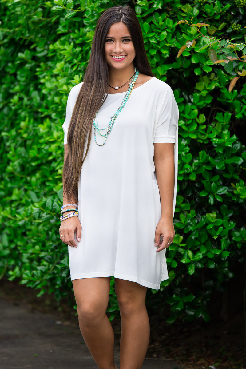 The Perfect Piko Short Sleeve Tunic-Off White