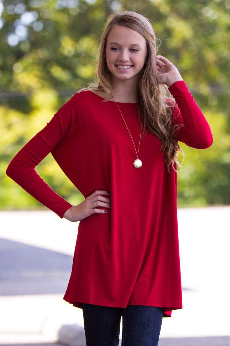 The Perfect Piko Tunic Top-Red