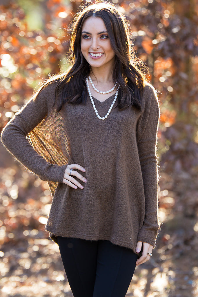 The Perfect Piko V Neck Sweater Top Brown Simply Dixie Boutique