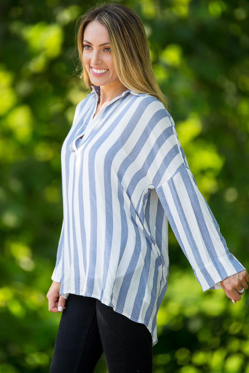 Stop On By Tunic Top-Blue/White