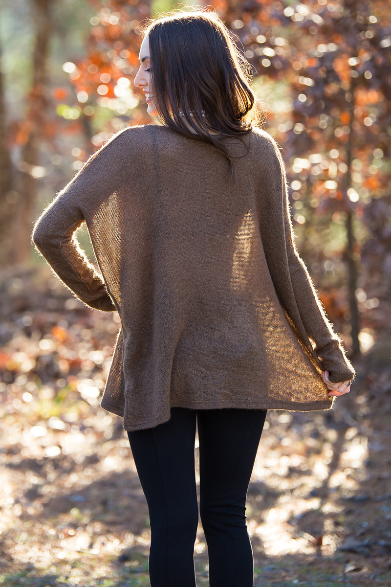 The Perfect Piko V-Neck Sweater Top-Brown