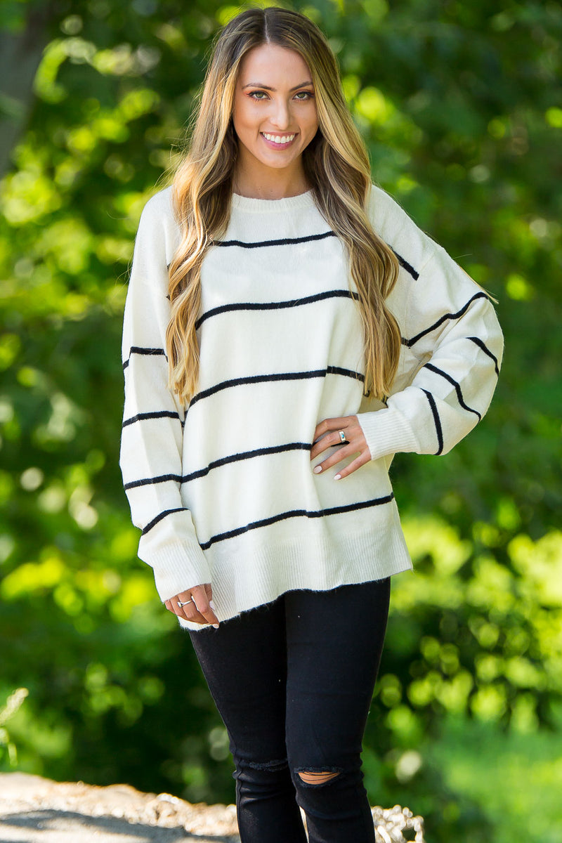 We Love Stripes Pullover Sweater-Ivory/Black