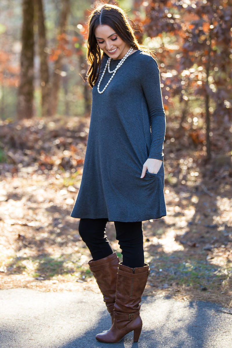 The Perfect Piko Long Sleeve Swing Dress-Dark Heather Grey