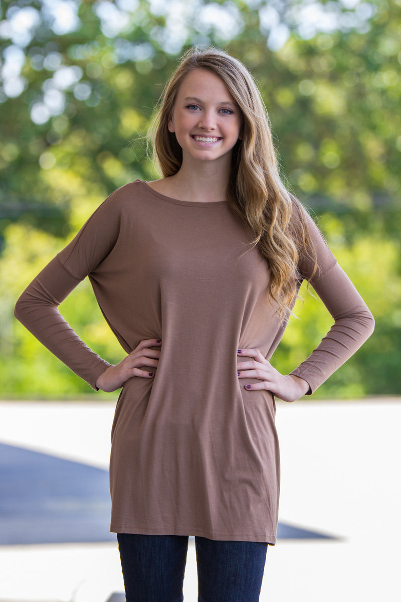 The Perfect Piko Tunic Top-Mocha