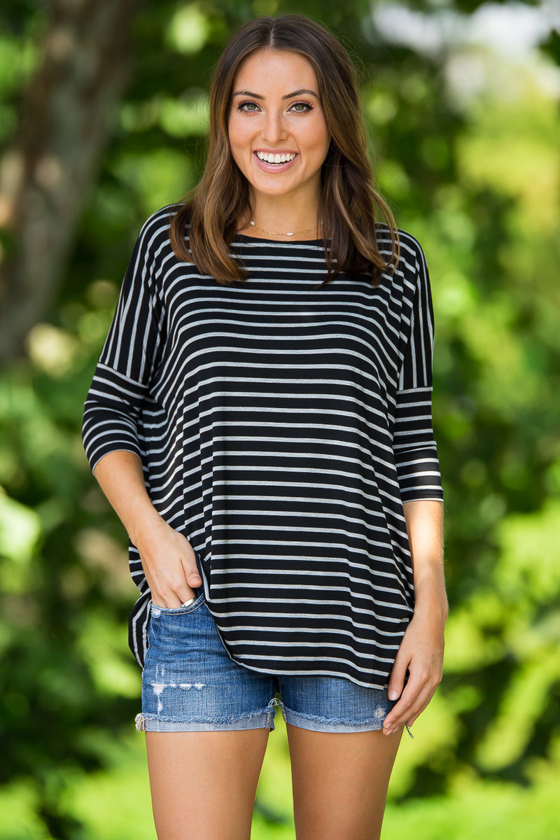 The Perfect Piko 3/4 Sleeve Tiny Stripe Top-Black/Heather Grey