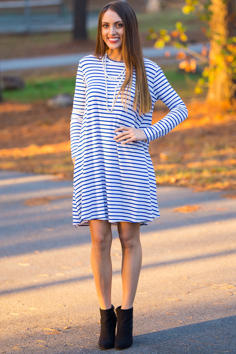 The Perfect Piko Long Sleeve Tiny Stripe Swing Dress-White/Royal