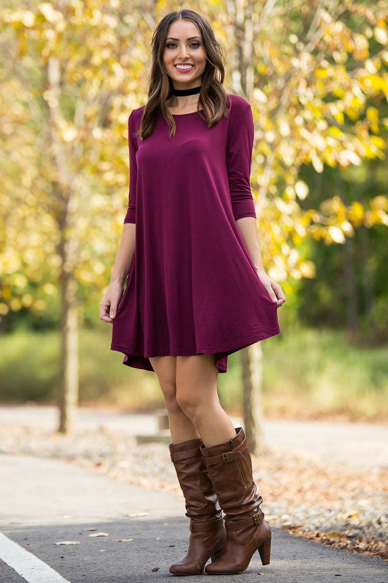 f59a759b25 The Perfect Piko 3 4 Sleeve Swing Dress-Dark Maroon ...