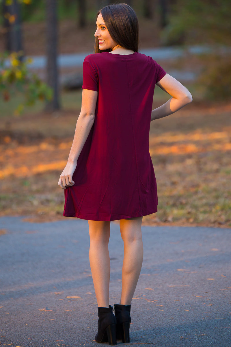 The Perfect Piko Short Sleeve Swing Dress-Plum