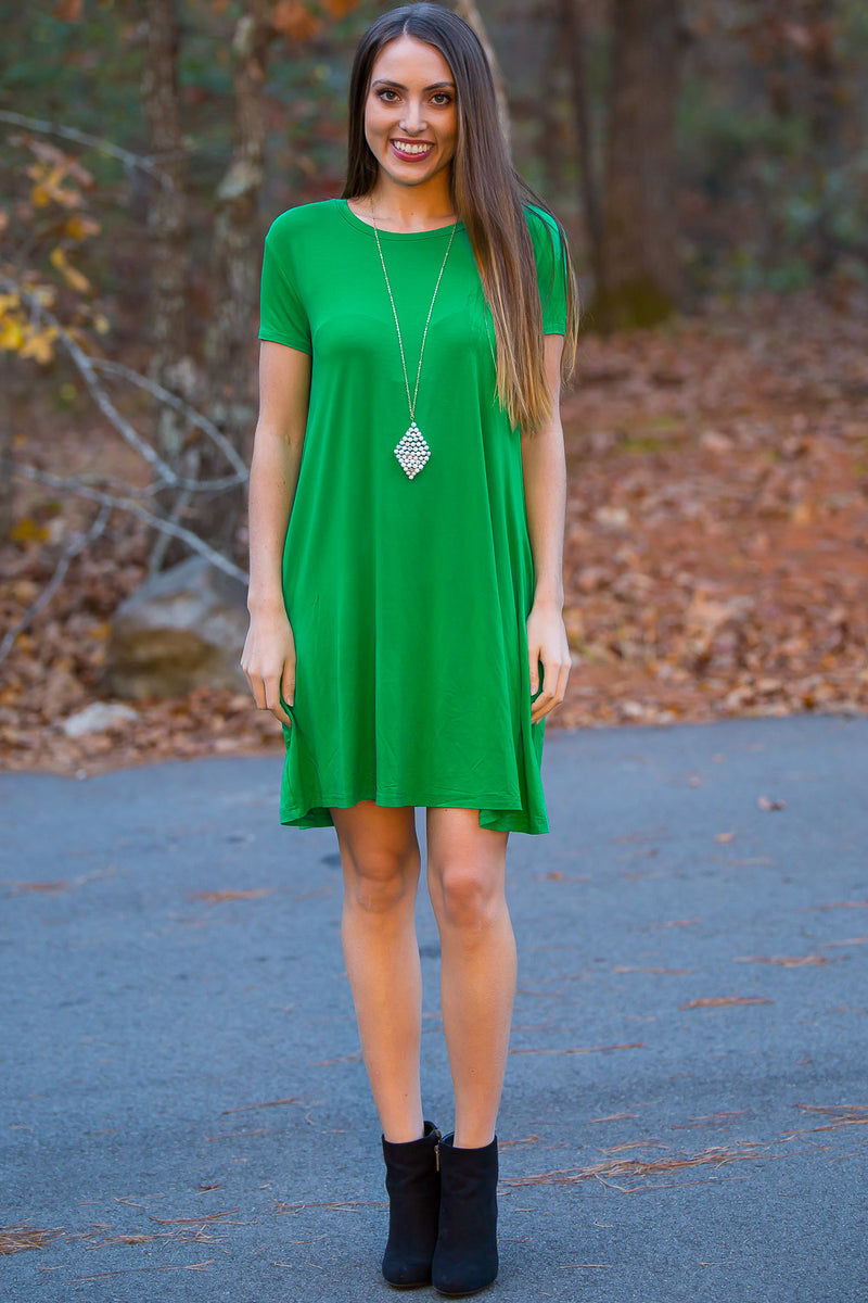 The Perfect Piko Short Sleeve Swing Dress-Kelly Green