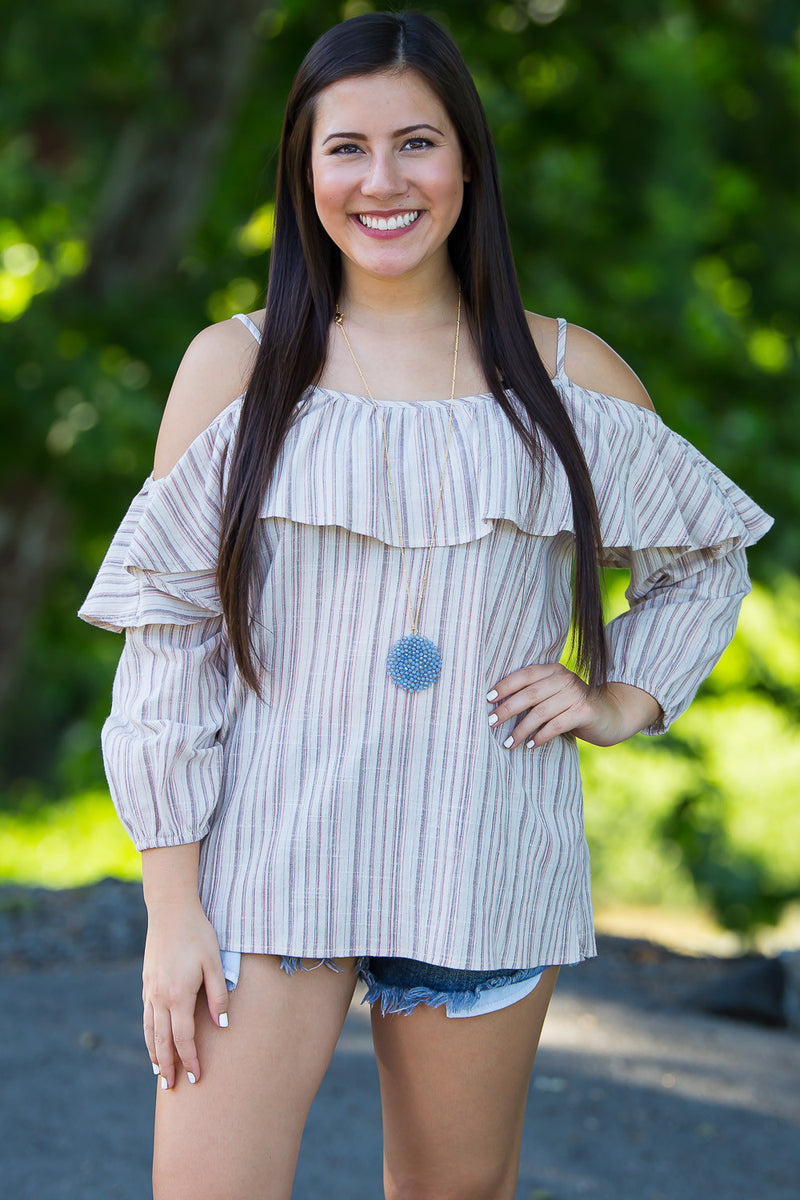 SALE-Meet In The Middle Cold Shoulder Top-Mauve