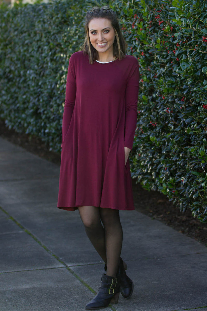 The Perfect Piko Long Sleeve Swing Dress-Plum