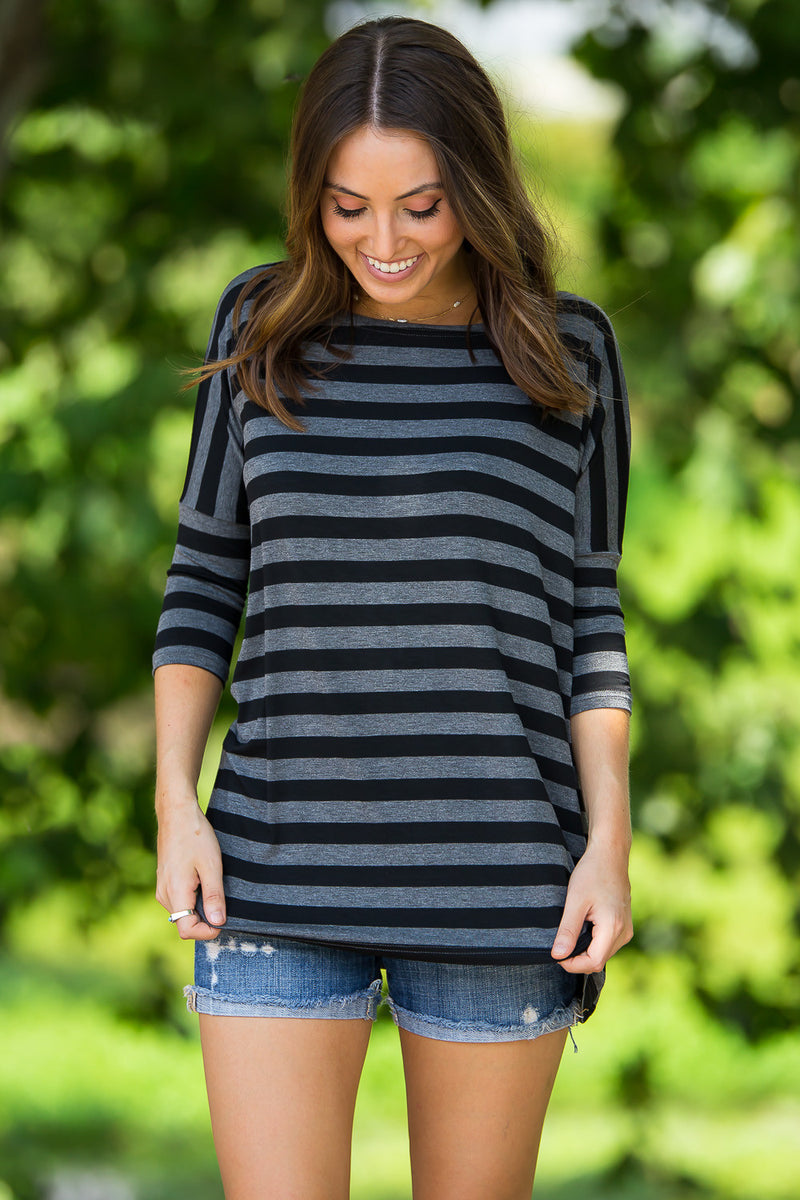 The Perfect Piko 3/4 Thick Stripe Top-Heather/Black