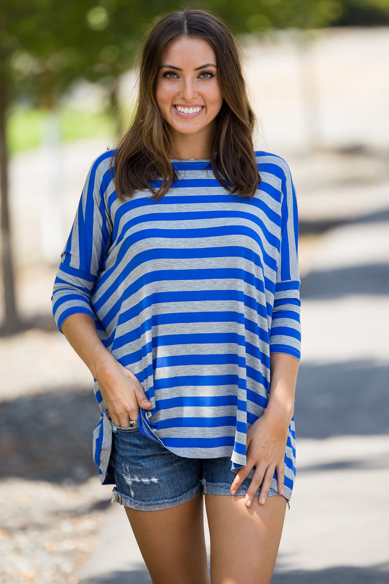 The Perfect Piko 3/4 Thick Stripe Top-Heather/Royal