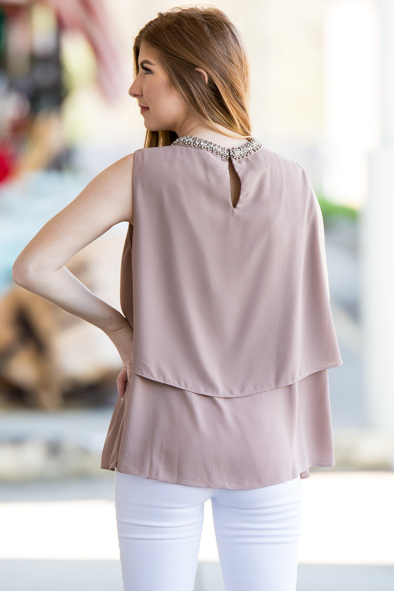 Dash Of Detail Top - Taupe